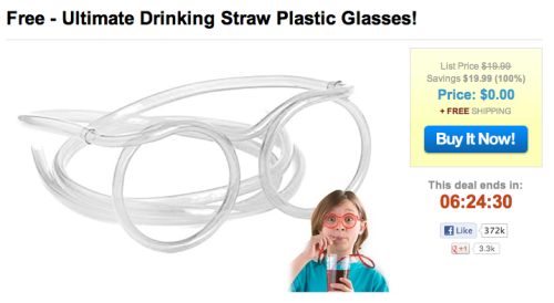 Five hours left to order your own Ultimate Drinking Straw Plastic Glasses for the low price of absolutely free. Seriously.