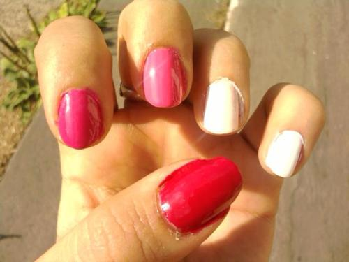 Thumb: Confetti Cherries JubileeIndex: Sally Hansen Twisted PinkMiddle: Essie Off The ShoulderRing: WnW Spoiled My Button Fell OffPinky: Sally Hansen White On