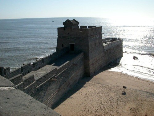 "smithsonianmag:    This is Where the Great Wall of China Meets the Sea  The Great Wall of China, which stretches 5,500 miles, ends with Laolongtou Great Wall, or ""The Old Dragon's Head."" It extends 66 feet into the Bohai Sea and resembles a dragon drinking water. - Source.  Photo: Courtesy of Reddit user Better_Be-Safe Ed note: The Great Wall of China is under siege after widespread deterioration is revealed. h/t Twisted Sifter"