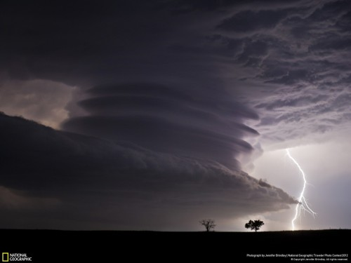 Stacked Supercell with Lightning Photo and caption by Jennifer Brindley This huge mesocyclone supercell was near the Nebraska / Kansas border on the night of June 22nd, 2012. What a stunning structure!