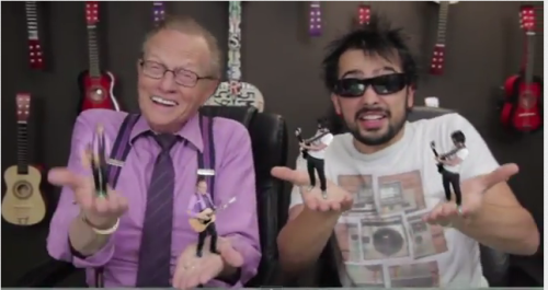 Larry King and Mystery Guitar Man get into a Duel! Check out the Behind the Scenes action! http://bit.ly/SandboxBTSEp21 Check out the full-length video: http://bit.ly/MiniLarry