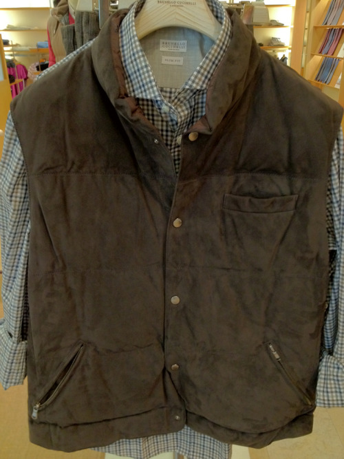Fall suede quilted vest and slim fit gingham shirt Brunello Cucinelli.