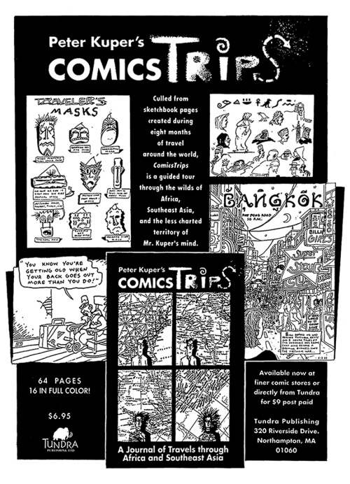Promotional ad for ComicsTrips by Peter Kuper, 1992.