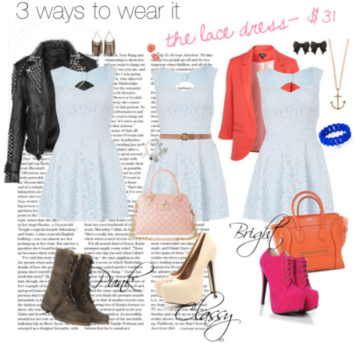 Lace skater dress- 3 ways to wear it by thef4shionguru featuring heart jewelry