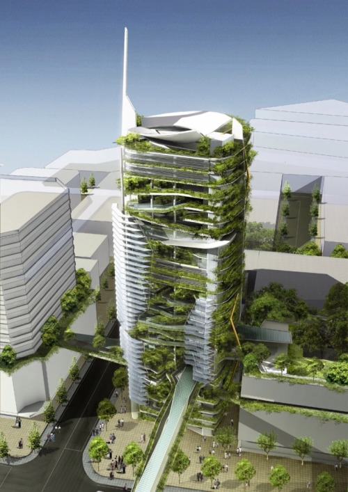 "ufansius:  EDITT (Ecological Design In The Tropics) Tower (project) - SingaporeTR Hamzah &Yeang  I believe this is what they had in mind when they coined the term ""green building""."