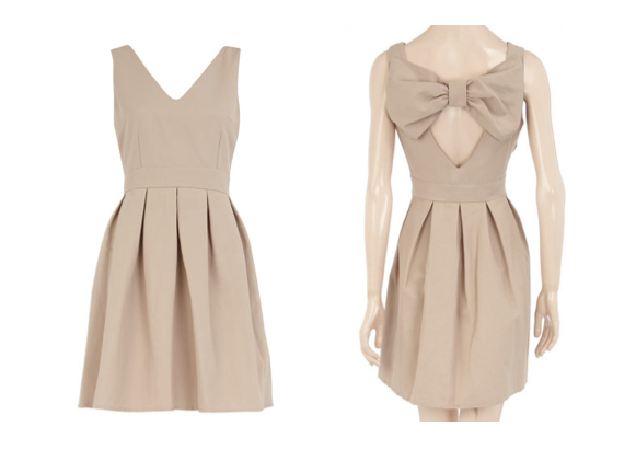 In need of a LND (little nude dress)? May I suggest the above number for only 44 dollars to make you holler. Don't worry, it's available in black for the purists.