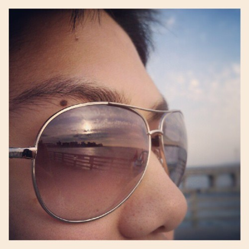 06022012 #ConeyIsland // @khaosnrg's New #Sunglasses! :) // #Brooklyn #Beach #Sunset #Reflection  (Taken with Instagram at Coney Island Beach & Boardwalk)