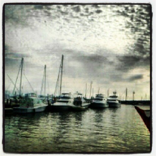 Look at dem clouds..! #yacht #boat #Newport #RhodeIsland #marina #dock #waterfront #AtlanticOcean (Taken with Instagram at Newport Waterfront)