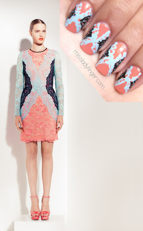 "MANICURE MUSE: Peter Som Resort '13 For those of you who fancy lace, you'll love Peter Som's Resort '13 collection. For me, it's always been a tricky fabric to wrap my head around. Somehow I gravitate towards the bold and graphic, and steer clear of vintage frill. With that said, Peter Som has made me a believer. The collection as a whole is a wanderlust trip to Morocco, described by Som as ""nomad-chic."" The shades of blue in Moroccan-inspired prints are a trip themselves, but it's how he translates them into his signature tailoring that keeps the collection grounded and new. Demure Chantilly lace makes a breathtaking statement because of it's fine craftsmanship, but its the bold-colored lace that makes the Ladyfinger statement.  To emulate this look, I used Trout Pout by Butter London, Baby Blue Color Club Nail Art Duo, and a black Sally Hansen nail art pen.  To get these ladyfingers:  1. Start with a full light pink nail 2. With a light blue nail art pen or brush, draw an ""X"" in squiggles and loops 3. Using your black nail art pen, draw squiggles and loops in a triangle shape with the point facing towards the center 4. Repeat on the other side 5. Top it off with top coat (Photo: Vogue.com c/o Peter Som)"