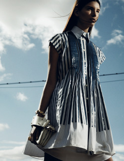 More pretty pleats a la Saica, feeling very Chloe-on-a-shirtdress. (via Interview Magazine - Fashion)