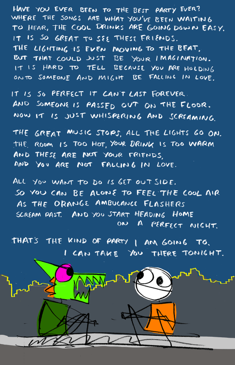 explodingdog:  The best party.  Comics with too many words are the best.