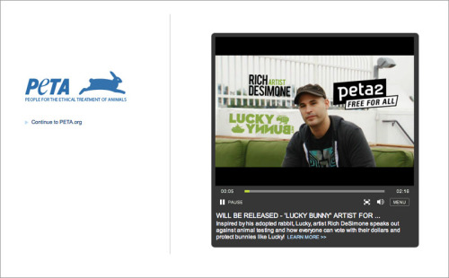 Just watched an interview I did with Peta2 to raise awareness for pet adoption and against animal testing. They did a great job and have my approval so it'll be released soon as part of a project we did together!