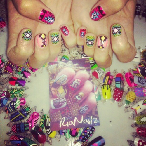 rianailz:  Tribal Madness #nails #nailart #nailpolish #tribal #manicure #fashion #trends #brooklyn #greenpoint #gelish #rianailz  (Taken with Instagram at Maritza's Unisex Salon)