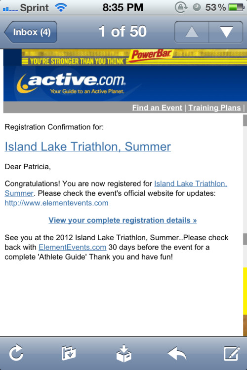 Registered for my first Oly Tri.   lolwhoops