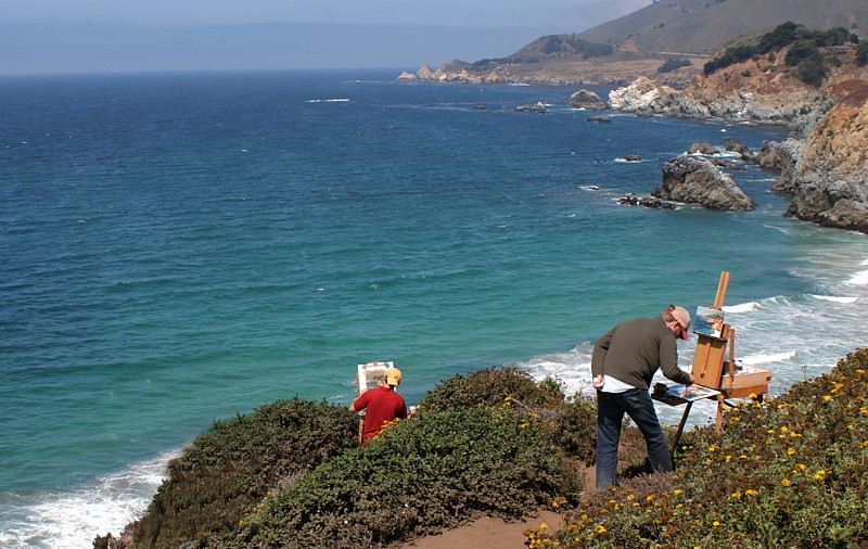 Painting the California coast.  Photo by artist Ryan Mellody.