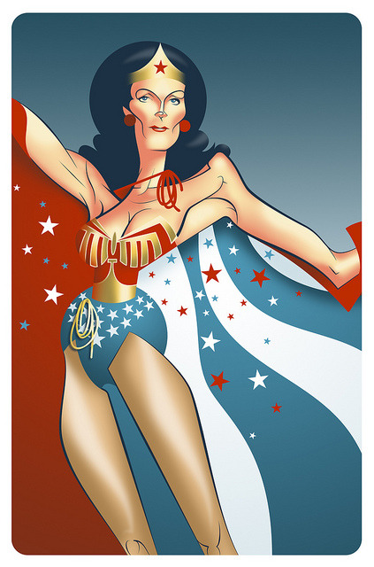 In your satin tights, fighting for your rights… Wonder Woman illustrated by Matt Cavanah :: via cavanahm