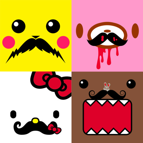 A series of serious staches. #KawaiiStache - Buy them as stickers here: http://www.etsy.com/shop/Wordtoyourunicorn