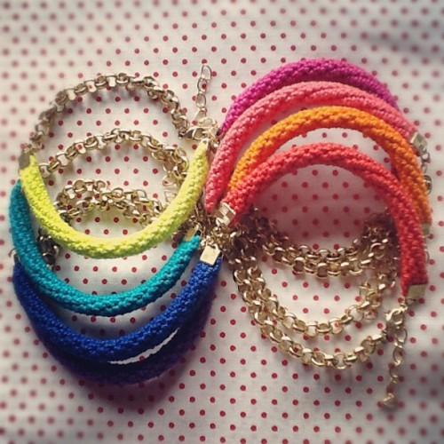 W.I.P. Rainbow colors :) Off to make more! #wip #crochet #handmadejewelry #nikitaaccessories #armparty  (Taken with Instagram)