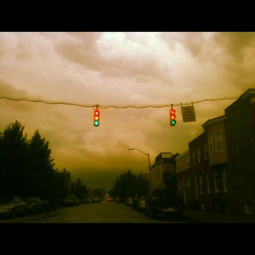#mixed #messages.  #storm #FleetSt. #Baltimore #Maryland #traffic #intersection #trafficlights #stop #caution #GO (Taken with Instagram)