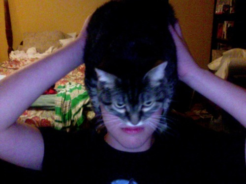 adrimnzr:  I HAD MY CAT ON MY HEAD AND I WAS GETTING PICTURES AND