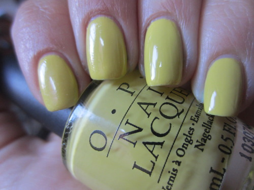 "opi ""fiercely fiona"" ok this is my last polish spam! i'm almost caught up to sharing my manicures on here! i didn't realize just how much i loved chartreuse polish! i love the yellowy green but what i don't love is how awful the formula was.  4 coats, totally watery and runny and took a long time to dry."