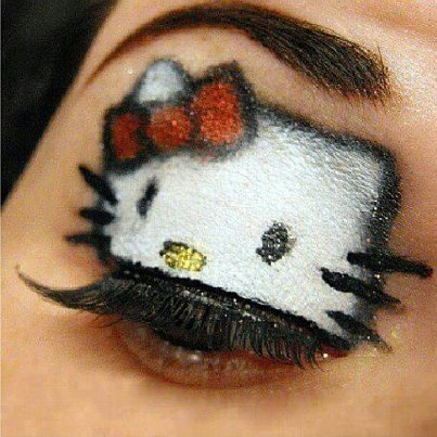mandiixxjerseygirl:  Hello Kitty makeup!!!!!! ahhhhhh =]