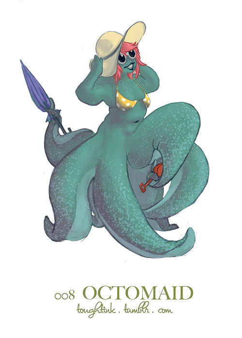 a day late, but i'm feeling a bit better now. here's the octomaid! i'll try to get the next one out quick. :| btw, she's going for a day at the beach. :D