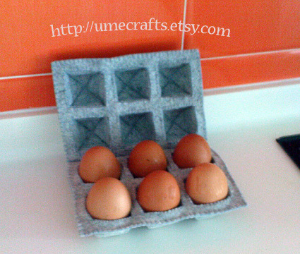Felt Egg Carton with Real Eggs by Lit'l Brown Bird on Flickr.