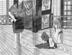 My drawing for chapter 4 of my fanfiction for Spirited Away! http://www.fanfiction.net/s/7676143/1/bBack_b_to_the_bSpirit_b_bWorld_b Read and review please!