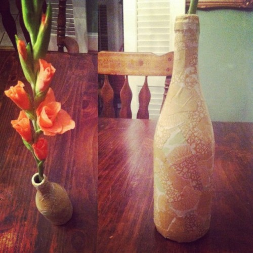 Découpaged a wine bottle à la @karenkavett. #crafty (Taken with Instagram)