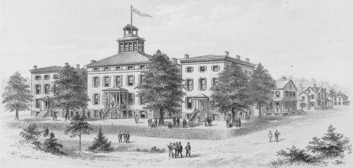 Washington College in Chestertown, Maryland, my alma mater. Engraving from 1890.