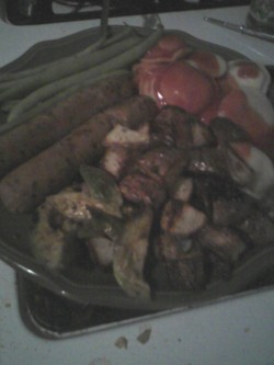 Ravioli, field roast sausage, roasted potatoes, roasted avocado, and green beans in lemon juice and soy sauce. At midnight Because fuck you.