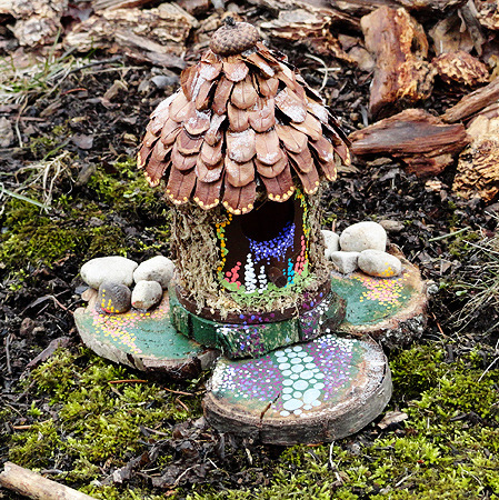 DIY Bird House to Fairy House Tutorial from Crafts by Amanda here. These bird houses/feeders are so cheap at Michaels. This has some clever details and the tutorial is extremely detailed (down to the paint colors). First seen at Craft Gossip here. *If you want to see truly amazing artistic fairy houses that were photographed (by Sally J. Smith) go here and here. If you want to make fairy slippers go here, or maybe Fairy Doors that act as bookends? createartandriot had a really good idea for that here. Or maybe you want a sign warning against them (think True Blood) then go here.