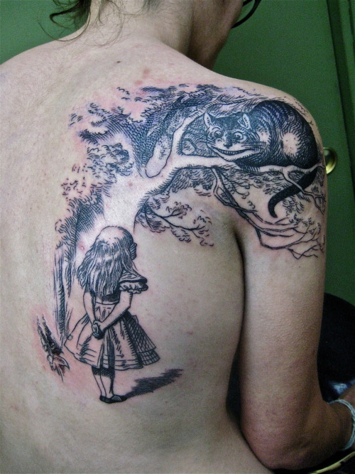 fuckyeahtattoos:  This sort of thing is the sort of thing I really love to do - if you want some beautiful old 19th century illustration inked on you, please come on in! http://www.purplepanthertattoos.com/ http://purplepanthertattoo.tumblr.com/