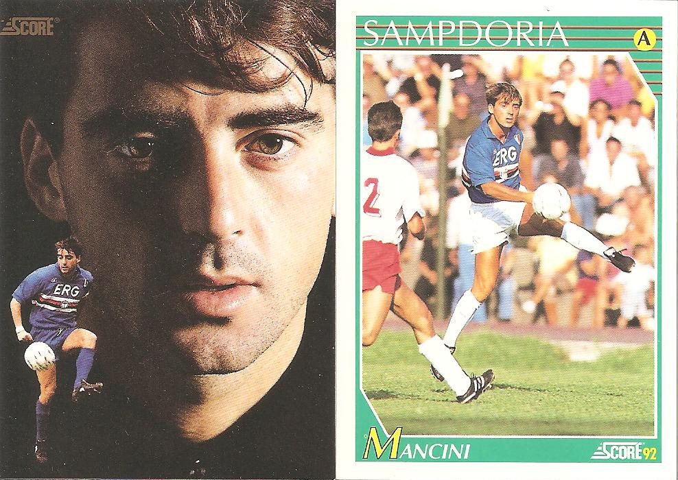Current Manchester City manger Roberto Mancini, 21 years ago playing for Sampdoria in Italy.