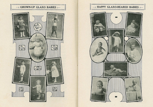 Glaxo Baby Book c.1917. Owned by Mrs Wilson, mother of Eileen (b.1922), Victoria. Glaxo was a dried milk powder that, in the days before pasteurisation, was safer than the standard available milk. Originally a NZ based company, Glaxo moved its head office to London in the 1930s, and years later became the massive multi-national GlaxoSmithKline (GSK). The Glaxo Baby Book is full of feeding tips, sample diets, health information and lots of testimonials of frail little babies near death who were fattened up by a diet of Glaxo.