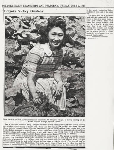 Hattie Kawahara, American-Japanese student at Mt. Holyoke College, is shown weeding the college victory garden, 1943.