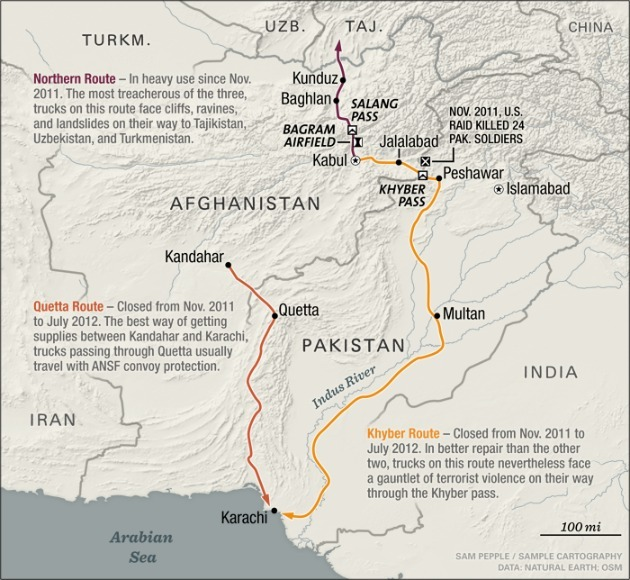 "This map of NATO supply routes out of Afghanistan accompanies a powerful piece of reporting by Vanda Felbab-Brown in Foreign Affairs. The miserable, almost impossible logistics of getting out Afghanistan in a timely fashion is harrowing:  ""About halfway between Kabul and Kunduz lies the Salang Pass. NATO trucks have no option but to drive through this tunnel, but, at an elevation of over 12,000 feet, it is a deathtrap. Built in 1964 by the Soviets, it was designed to handle 1,000 vehicles a day. During the recent closure of the Afghanistan-Pakistan border, some 10,000 tried to jostle their way through every 24 hours. Some get stalled for days. Carbon monoxide, and gas fumes, fill the air; if one of the fuel trucks were to blow, the others would all go with it. Exactly that happened in 1982, and, reportedly, some 900 Russians and Afghans were killed. As if fumes and fire weren't enough, the tunnel is also plagued by water and ice. The ceiling and walls were never completed, so they leak. As winter snows come, the tunnel becomes one gigantic mud bath, opening onto a cliff-side ice rink on the other side. Given the extreme weather conditions and the fact that the road carries about four times the weight that a highway is supposed to withstand, it is unlikely that any pavement that Turkey or the United States or any of its allies could lay would last. The patching that ISAF did in 2010 is already long gone. Even so, ISAF is discussing repaving at least part of the road, at the cost of more than $60 million."""