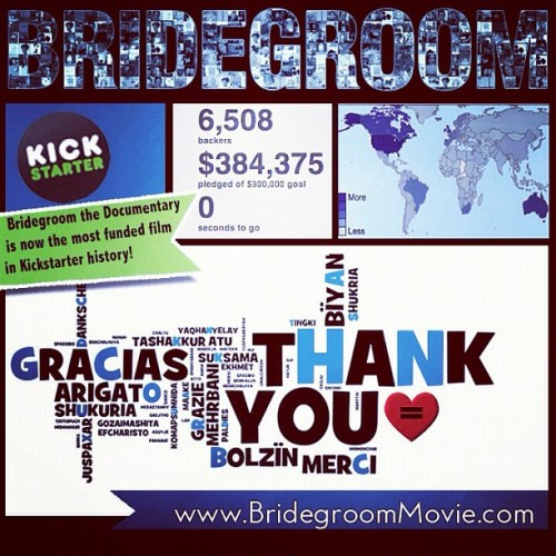 We did it! We made Kickstarter history! Because we stood together @BridegroomMovie will premiere this fall! Thank you! #grateful #proud #tombridegroom #equalloveequalrights   (Taken with Instagram)