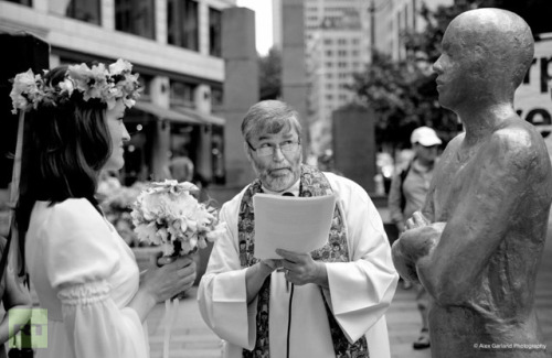 "Seattle woman weds corporation to protest corporate personhoodJuly 20, 2012 Seattle resident Angela Vogel was given state permission to proceed with a planned wedding after officials in King County, Washington this week signed off on a marriage license between the beautiful bride-to-be and one Mr. Corporate Person: a one-and-a-half-month-old corporation established earlier this year. Jeff Reifman, a Seattle-based technologist and writer, is listed on Corporate Person's official papers as its registered agent. King County Executive Dow Constantine authorized a marriage license between Vogel and Corporate Person this week, and the bride and groom just couldn't be happier. ""I'm incredibly excited,"" Vogel tells reporters from Seattle's The Stranger. ""I'm drinking."" Mr. Person — well, Mr. Reifman — adds to the Washington Bus blog that it wasn't exactly the easiest thing to have his corporation legally permitted to wed a human, but if the US justice system can allow big businesses the same rights as people under the Citizens United ruling, frankly, it only makes sense. And if you think otherwise, take it up with Mitt Romney. ""I was really thrilled and the ceremony was wonderful,"" Reifman tells Washington Bus. ""It was a little difficult to get them to do it, but they took my money and they provided a marriage license. We talked to them about the Supreme Court offering corporate personhood."" ""The Supreme Court has said that corporations are persons with equal protections under the Fourteenth Amendment, which means they have all the same rights as you or me (unless you happen to be gay or lesbian).So a corporation has just as much right to marry a woman that I have to marry a woman,"" Reifman adds. Source People's protest creativity is getting pretty impressive these days!"