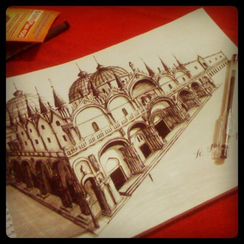 Byzantine-inspired Church (pen rendering) I drew for our History class. By the way, I took the photo through Instagram. :3