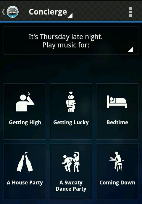 Laying in bed trying out this Songza app. It picks out playlists based on what you're doing, and check out the default activities.