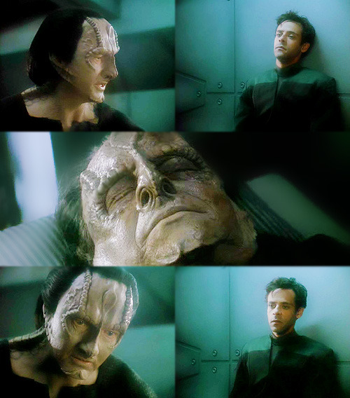 TAIN: I can't see you. Are you alone? GARAK: (looking at Julian) Yes. There's no one else but you and me.    …oh my GOD WHAT AM I SUPPOSED TO DO WITH ALL THESE GARAK FEELS?chrIST and can we talk about the fact he specifically allows Julian, and ONLY JULIAN, to stay in the room and silently witness his last conversation with the man who is revealed to be his FATHER?