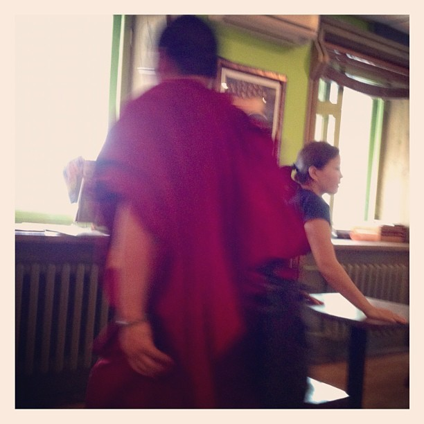 A Monk just swooped by me at this cafe  (Taken with Instagram)