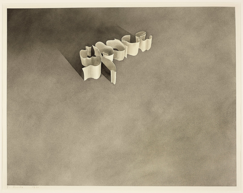 Edward Ruscha, Space (1971), Gunpowder on pastel on paper, Art Institute of Chicago, © Ed Ruscha.