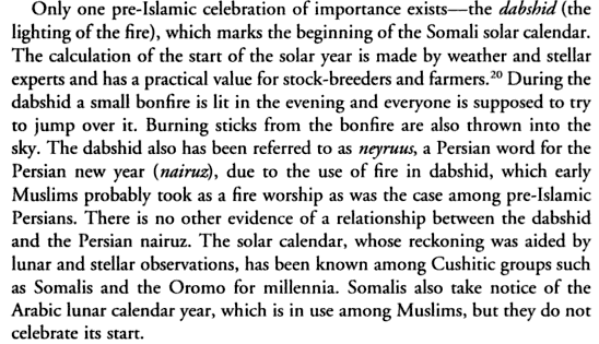 This text is an excerpt from Culture and Customs of Somalia by Mohamed Diriye Abdullahi and can be found on page 163.  Who would have ever thought Somalia had its own form of calendar?