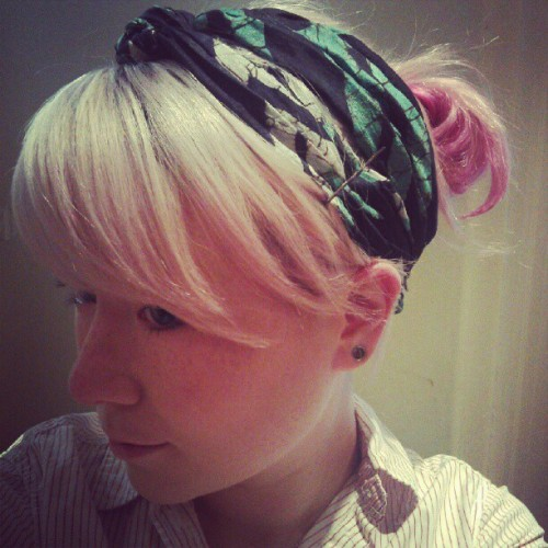 #turquoise #navy #batik #silk #scarf #head #hair #girl #pinkhair #face from One World Shop #Fairtrade #Traidcraft #Edinburgh  (Taken with Instagram)