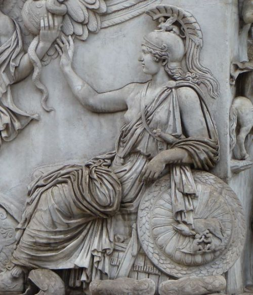 ancientart:  Detail of the column base of the Ancient Roman Column of Antoninus Pius. 161 AD