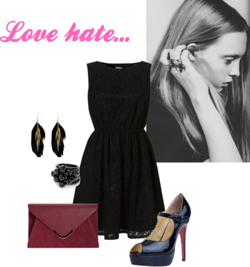 love hate by miss-cc featuring an oversized envelope clutchCoco's Fortune sleeveless lace dress,