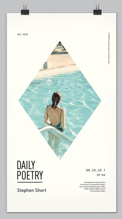 "Daily Poetry A graphic design project by Clara Fernández for a photography exhibition. ""Three American photographers to the 70s, precursors of color photography."" via: WE AND THE COLORFacebook // Twitter // Google+ // Pinterest"